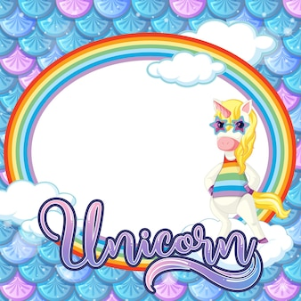 Plantilla de marco ovalado sobre fondo de escamas de pescado azul con personaje de dibujos animados de unicornio