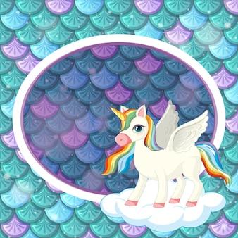 Plantilla de marco ovalado sobre fondo de escamas de pescado verde con lindo personaje de dibujos animados de unicornio