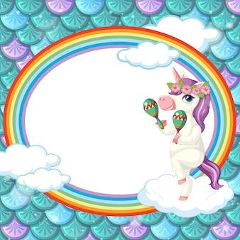 Plantilla de marco ovalado sobre fondo de escamas de pescado verde con personaje de dibujos animados de unicornio