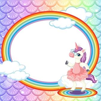Plantilla de marco ovalado sobre fondo de escamas de pez arco iris con personaje de dibujos animados de unicornio