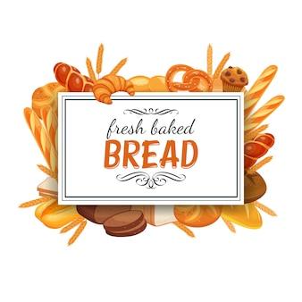 Plantilla de marco con pan