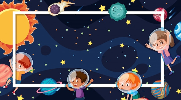 Plantilla de marco con planetas en el espacio