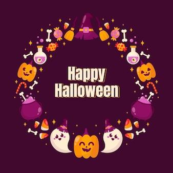 Plantilla de marco plano de halloween