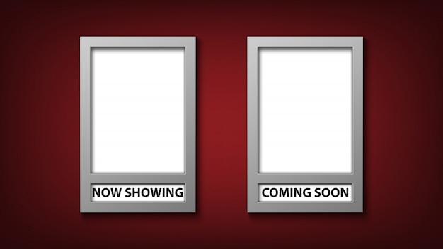Plantilla de marco de póster de película con ahora mostrando y próximamente