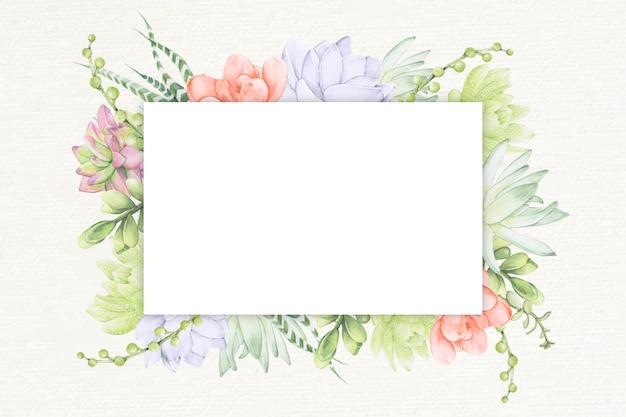 Plantilla de marco rectangular suculento dibujado a mano