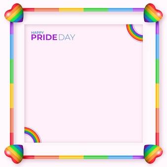 Plantilla de marco de redes sociales del día del orgullo realista