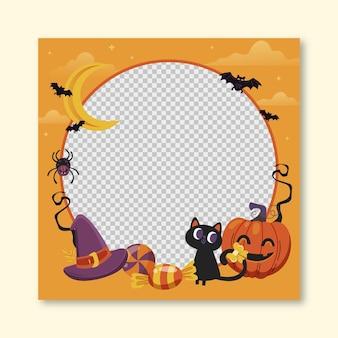 Plantilla de marco de redes sociales de halloween plana dibujada a mano