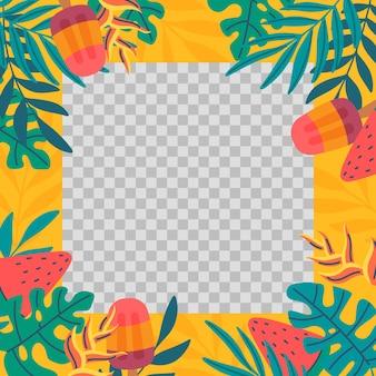 Plantilla de marco de redes sociales de verano plano orgánico