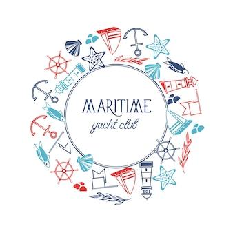 Plantilla de marco redondo de club náutico marítimo