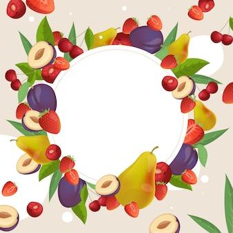 Plantilla de marco redondo de frutas y bayas