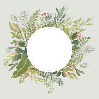 Plantilla de marco redondo de hojas verdes. follaje, ramas ilustración plana. invitación, plantilla de tarjeta de boda.