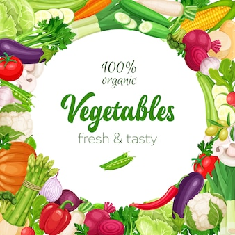 Plantilla de marco redondo con verduras.