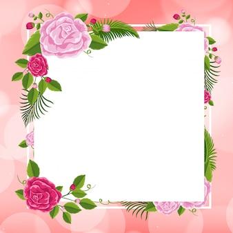 Plantilla de marco con rosas rosadas