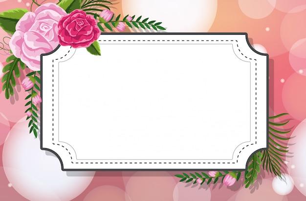 Plantilla de marco con rosas sobre fondo rosa