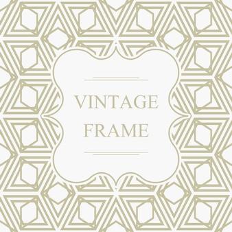 Plantilla de marco vintage elegante abstracto en patrón transparente de rombo geométrico ligero en estilo caleidoscopio