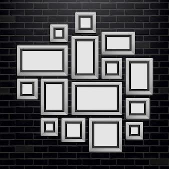 Plantilla de marcos de cuadros de pared, foto en blanco.