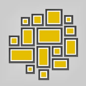 Plantilla de marcos de pared, foto en blanco.