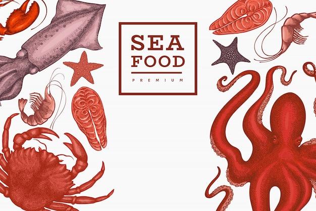 Plantilla de mariscos. dibujado a mano ilustración de mariscos. comida de estilo grabado. fondo de animales marinos retro