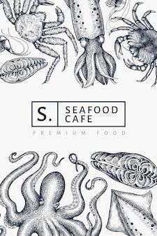Plantilla de mariscos. dibujado a mano ilustración de mariscos. grabado estilo banner de alimentos. fondo de animales marinos retro