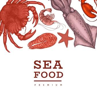Plantilla de mariscos. ilustración de mariscos dibujados a mano. banner de comida de estilo grabado. fondo de animales marinos vintage