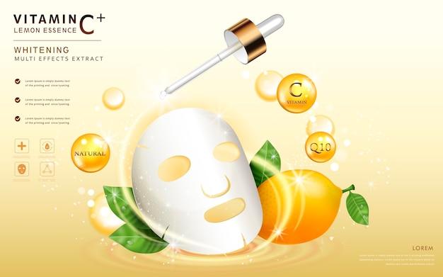 Plantilla de máscara facial con ingredientes y elementos brillantes a su alrededor.
