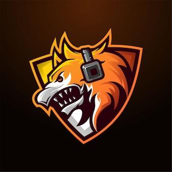 Plantilla de mascota de cabeza de lobo para logotipo de juegos