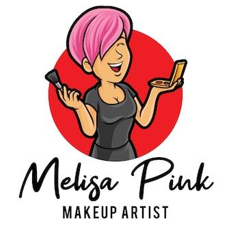 Plantilla de mascota de logotipo de artista de maquillaje