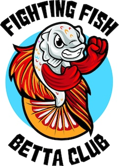 Plantilla de mascota de logotipo de betta fish club