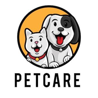 Plantilla de mascota de logotipo de cuidado de mascotas