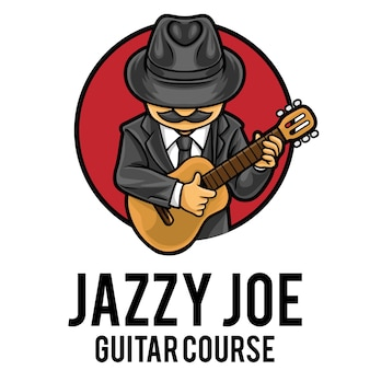 Plantilla de mascota de logotipo de curso de guitarra