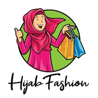 Plantilla de mascota de logotipo de hijab de moda musulmana