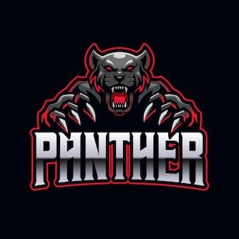 Plantilla de mascota de logotipo de juegos de deportes electrónicos de black panther