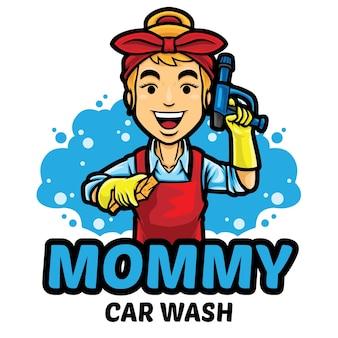 Plantilla de mascota de logotipo de lavado de autos de mamá