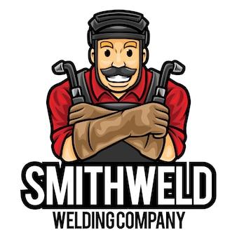 Plantilla de mascota de logotipo de servicio de soldador