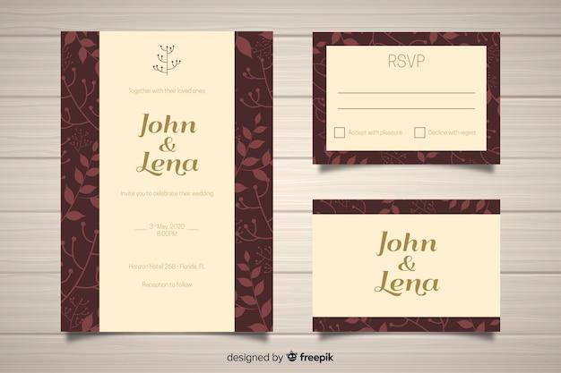 Plantilla de material de papelería de boda en diseño plano