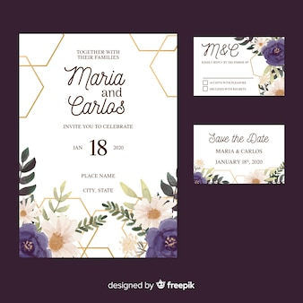 Plantilla de material de papelería de boda estilo acuarela