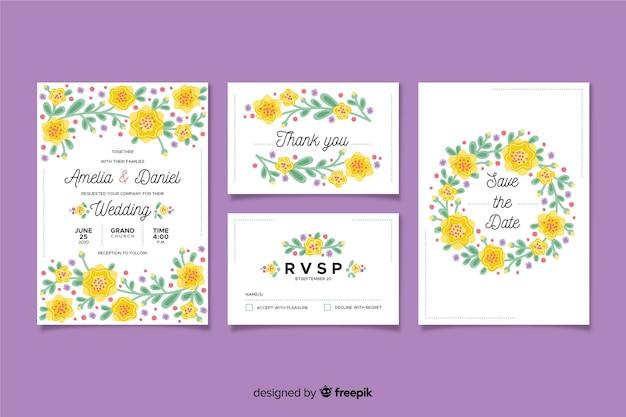 Plantilla de material de papelería de boda con flores en diseño plano