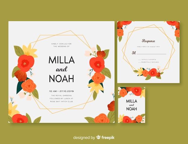 Plantilla de material de papelería enfocada a boda con marco flora