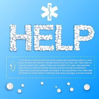 Plantilla médica azul con ayuda de inscripción de píldoras y lugar para la ilustración de texto