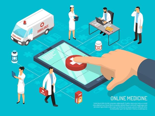 Plantilla médica isométrica en línea del doctor