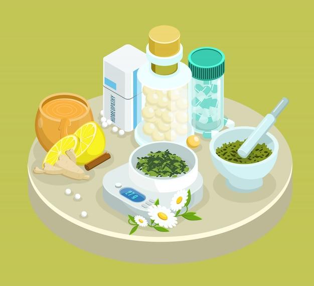 Plantilla de medicamentos de tratamiento alternativo isométrico con ingredientes de hierbas naturales.