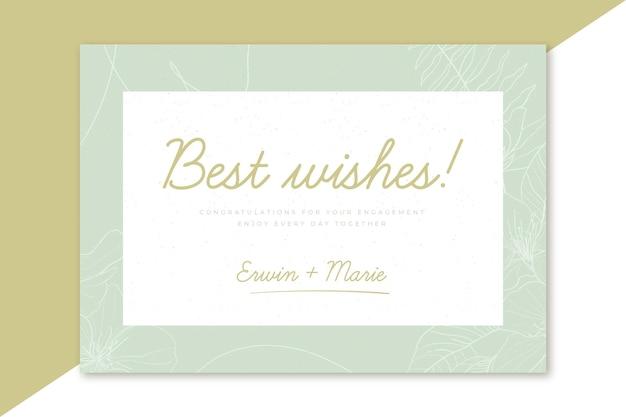 Plantilla de mejores deseos de tarjeta de compromiso feliz