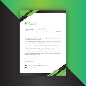 Plantilla de membrete abstracto verde y negro