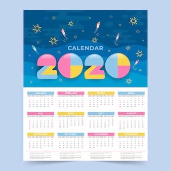 Plantilla de memphis wall calendar 2020 year