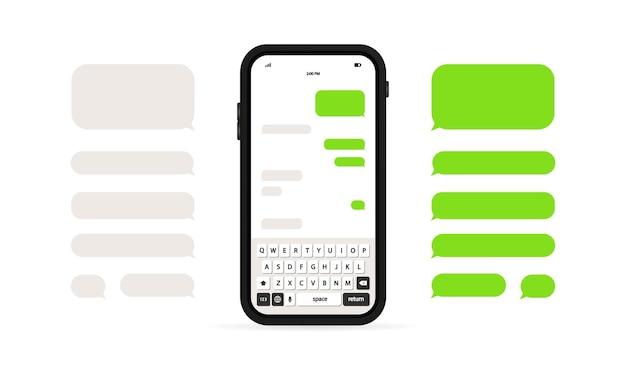 Plantilla de mensaje de teléfono o burbujas de chat de mensaje