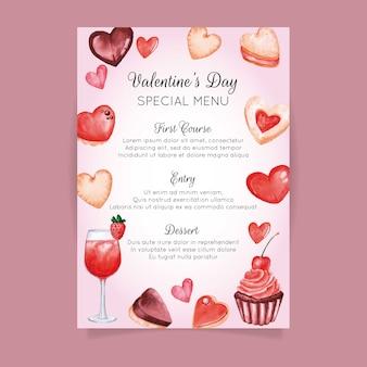 Plantilla de menú de acuarela para el día de san valentín