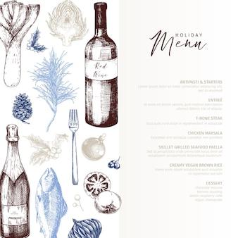 Plantilla de menú. alimentos y bebidas navideñas detalladas dibujadas a mano. menú de moda moderno