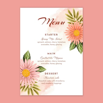 Plantilla de menú de aniversario de boda