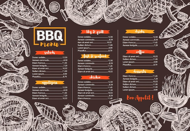 Plantilla de menú de barbacoa, parrilla, barbacoa y carne, boceto ilustración dibujada a mano