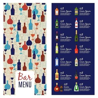 Plantilla de menú de barra. plantilla de volante de folleto de menú de alcohol con patrón de botellas, ilustración vectorial